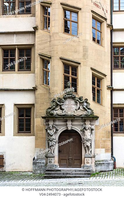 Close up of the eight-sided staircase tower of the Old Grammar School, Rothenburg ob der Tauber, Bavaria, Germany, Europe
