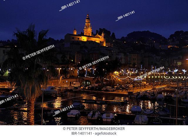 Old town of Menton with Église St. Michel church and port at Christmas time, Département Alpes Maritimes, Région Provence-Alpes-Côte d'Azur, Southern France
