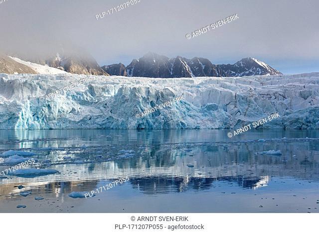 Waggonwaybreen, glacier in Albert I Land at Spitsbergen / Svalbard calving into Magdalenefjorden, Norway