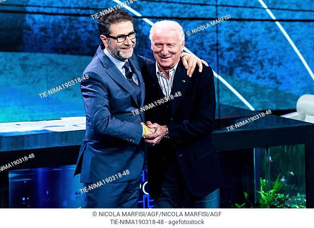 Tv presenter Fabio Fazio, Soccer Coach Giovanni Trapattoni during the tv show Che tempo che fa, Milan, ITALY-18-03-2018