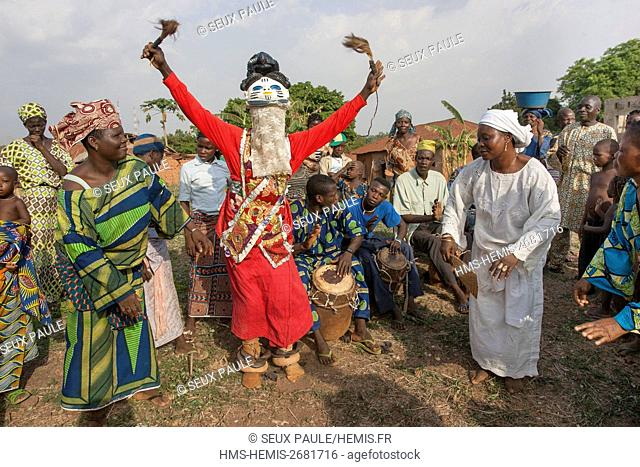 Benin, south-east region, Ketou, masks Gélédé classified as an Intangible Heritage of Humanity, in Ketou at the Yoruba, the mask is surmounted by characters...