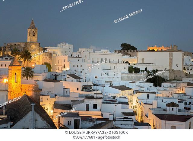 Evening rooftop views of the whitewashed village or Pueblos blanca of Vejer de la Frontera, Andalucia, Cadiz province Spain