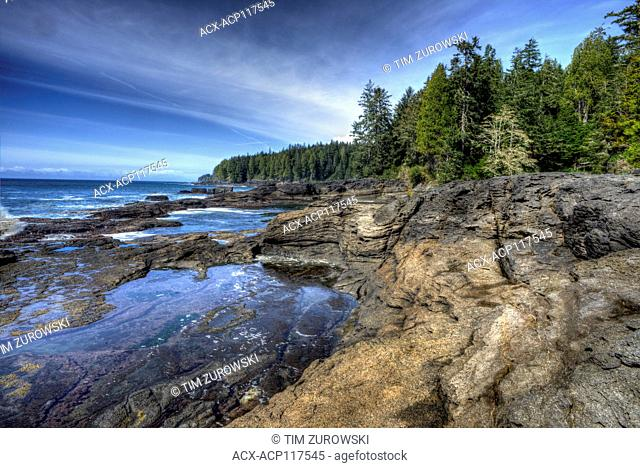 Coastline of the Juan de Fuca Trail on the west coast of Vancouver Island, Canada