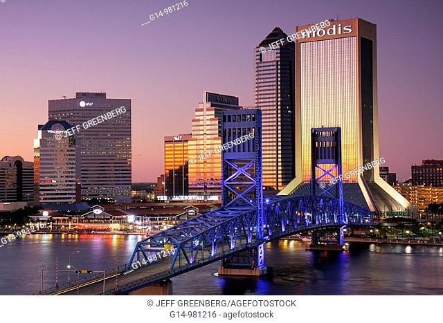 Florida, Jacksonville, Saint St  Johns River, John Alsop Bridge, Main Street Bridge, downtown, Jacksonville Landing, city skyline, Modis Building, skyscraper