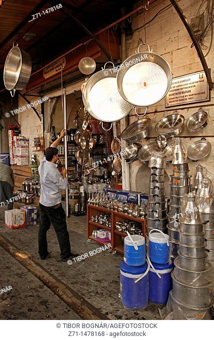 Turkey, Sanliurfa, bazaar, pots and pans shop