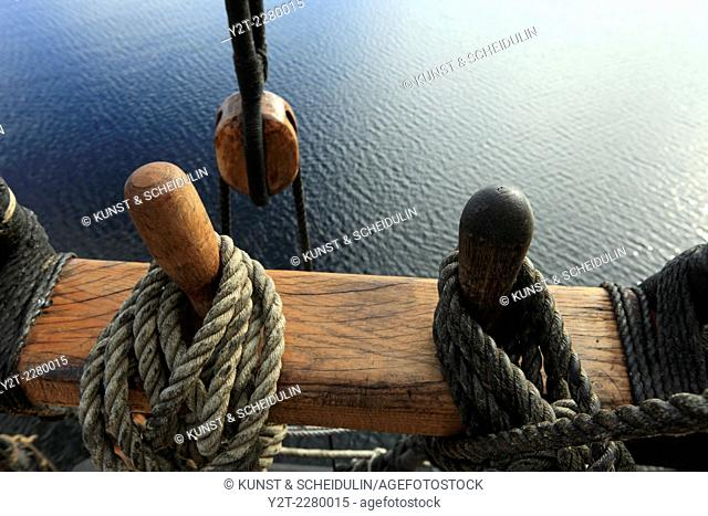 Belaying pins on a tall ship