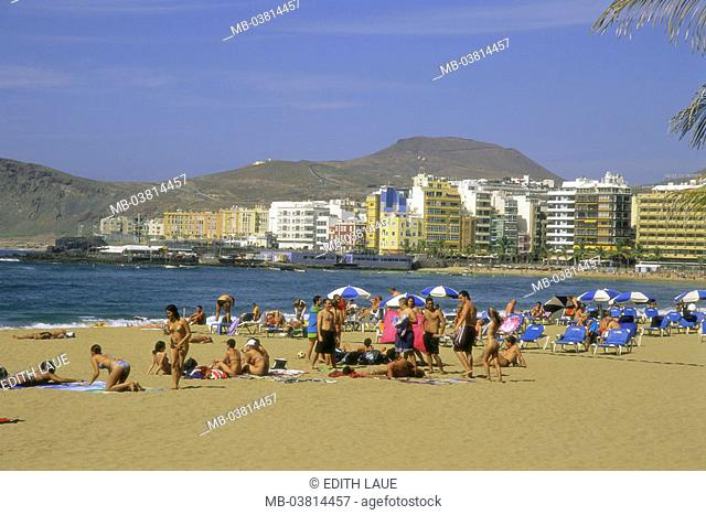Spain, grain Canaria, read Palmas,  Beach of reading Canteras, swimmers,   Series, Canaries, island, view at the city, hotels, sandy beach, beach, hotel beach