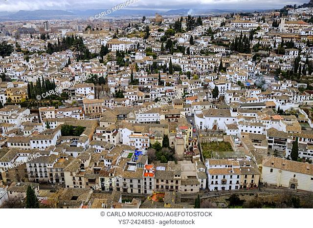 View of Granada seen from the Alhambra, Granada, Andalusia, Spain