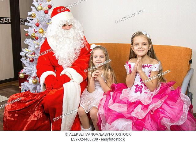 The girls are asking for frost grandfather to give them gifts