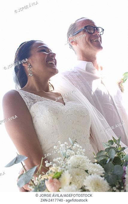 Beuautiful intercultural couple, wedding