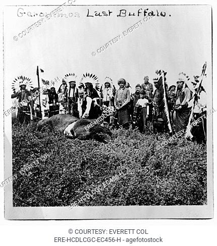 Geronimo's last buffalo. Geronimo standing over dead buffalo, with Native men and boys in ceremonial dress standing behind him, Fort Sill, Oklahoma