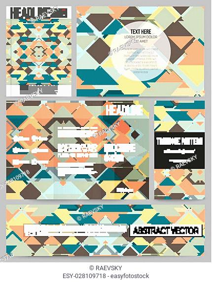 Set of business templates for presentation, brochure, flyer or booklet. Material Design. Colored vector background