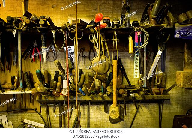 Close-up of a toolkit of a carpentry workshop. Keighley, Bradford, West Yorkshire, UK