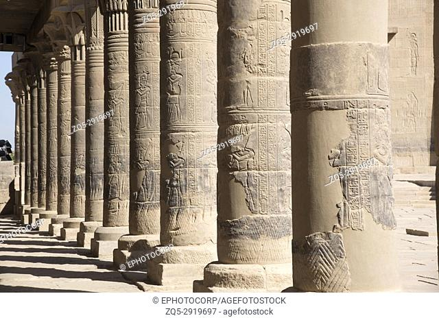 Carved pillars of Philae temple. Agilika Island, Egypt Philae Temple was dismantled and reassembled (on Agilika Island about 550 meters from its original home...