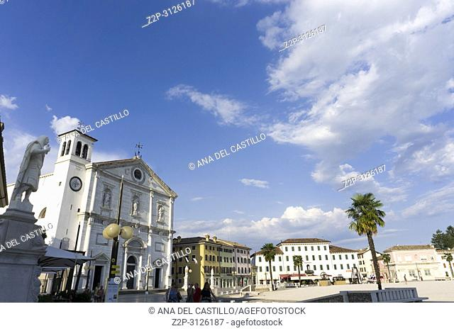 PALMANOVA ITALY ON AUGUST 20, 2018: Palmanova, with its nine-pointed star structure, was conceived as an inexpugnable defensive system Italy