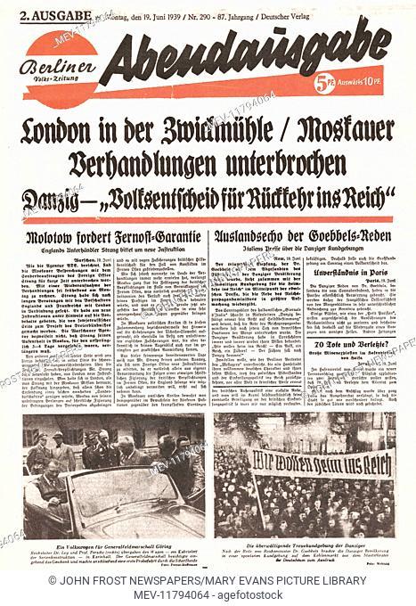 1939 Berliner Volks-Zeitung (Germany) front page Political crisis over Danzig