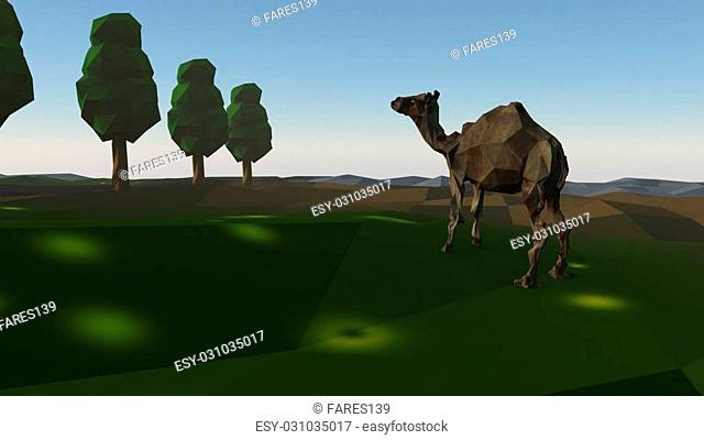 3d rendering of group of low poly stylized trees and a camel. with realistic shadows on white background