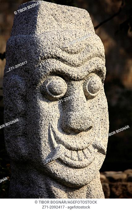 South Korea, Seoul, National Folk Museum, stone statue,