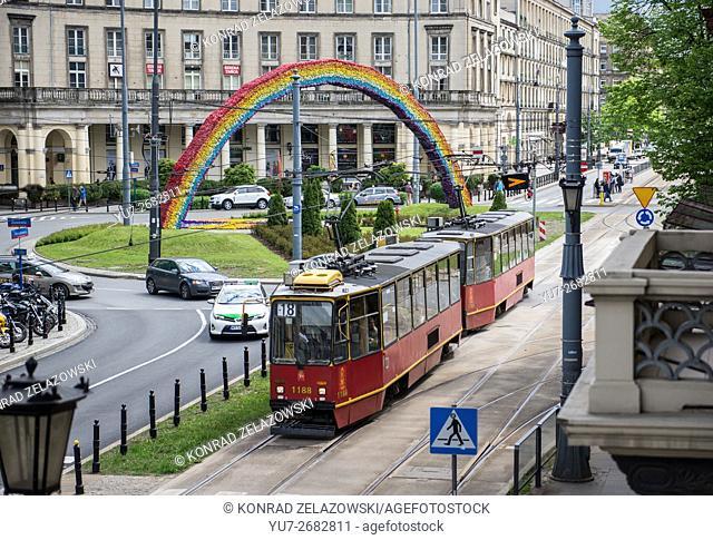 artistic installation Rainbow (already non-existent) at Plac Zbawiciela (Savior Square) in Warsaw, Poland