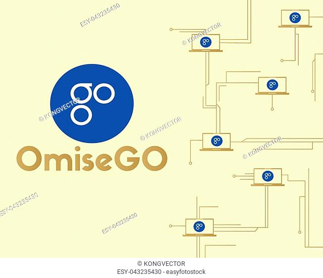 Background blockchain word OmiseGO cryptocurrency vector illustration