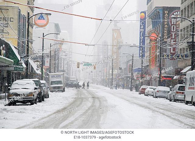 Canada, BC, Vancouver  Snow scene in downtown  Granville Street