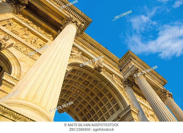 Arco della Pace with blue sky and clouds in Milan, Italy