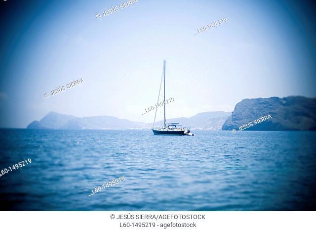 Boat blurred in Almeria, Spain