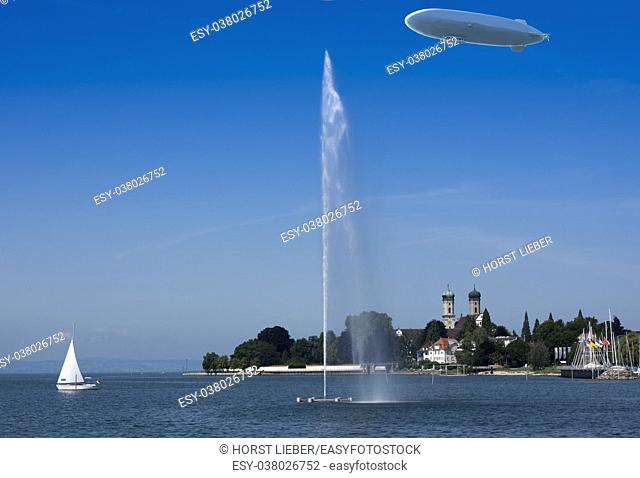 Zeppelin, waterfountain and castle church in Friedrichshafen at Lake Constance - Friedrichshafen, Lake Constance, Baden-Wuerttemberg, Germany, Europe