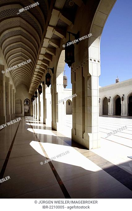 Colonnade, Sultan Qaboos Grand Mosque, Muscat, Oman, Middle East, Asia