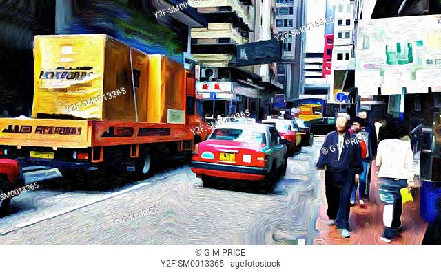 expressionist filter view of traffic and pedestrians on narrow street, Hong Kong, China