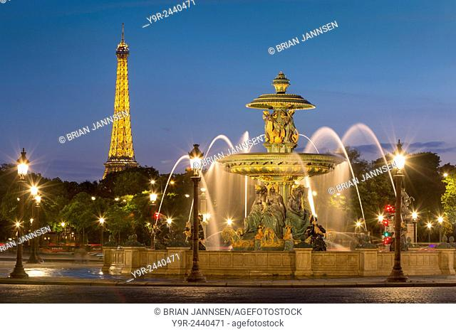 Fontaine des Fleuves - Fountain of Rivers at Place de la Concorde with the Eiffel Tower beyond, Paris France