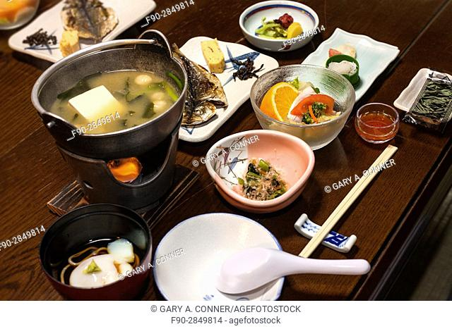 Multi course traditional breakfast at a onsen resort in Hakone, Japan