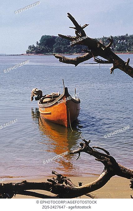 A lone fishing boat. Goa, India