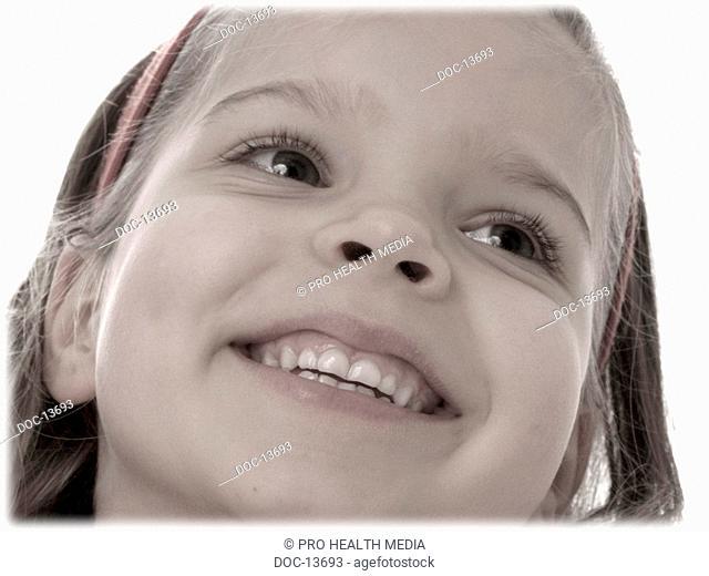 Portrait - Pre-teen girl smiles