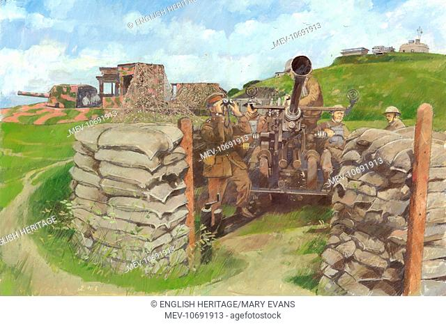 Pendennis Castle, Cornwall. Reconstruction drawing of Bofors gun position - Half Moon Battery c.1943 by Ivan Lapper