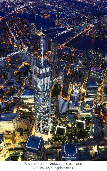 Above The Freedom Tower WTC - Aerial view at night and few thousand feet up from the sky to One World Trade Center commonly referred to as the Freedom Tower...