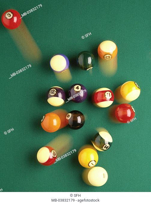 Billiard table, balls, movement,  Fuzziness, from above,   Billiard, pool billiard, billiard balls, colorfully, game beginning beginning beginning, impulse