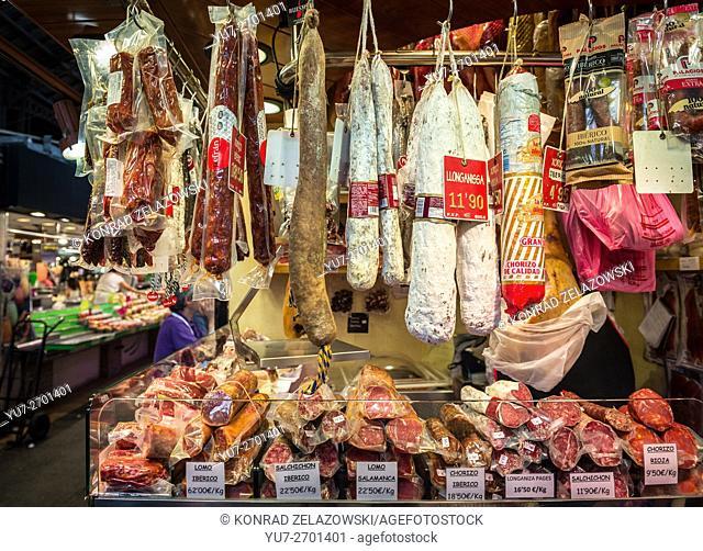 Meat shop with Longaniza sausages at Mercat de Sant Josep de la Boqueria or simply called la Boqueria, Barcelona, Spain