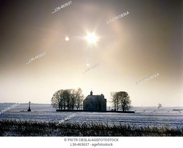 Lubelski region. Poland. Small church in the field