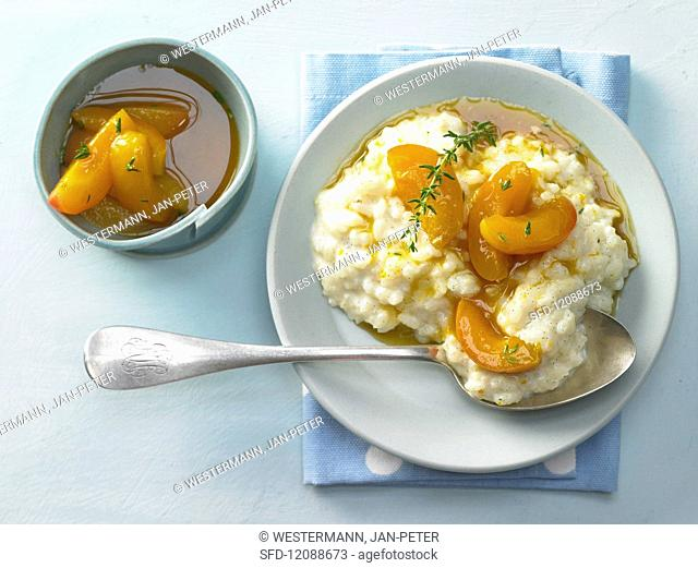 Vanilla rice pudding with apricot and seabuckthorn compote