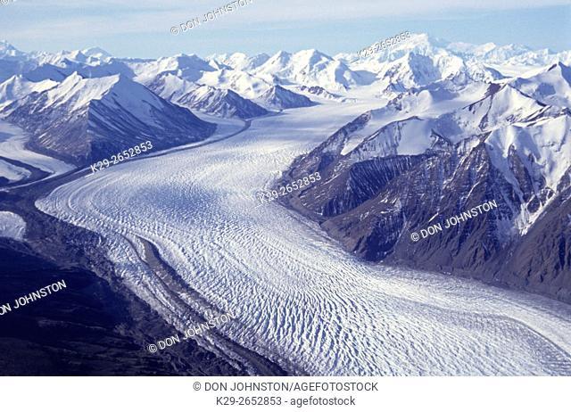 Donjec glacier from air, Kluane NP, YT (Yukon), Canada