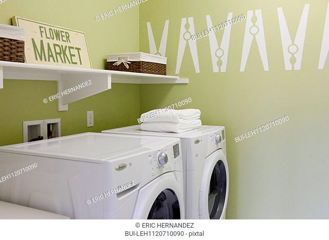 Washing machines in the laundry room; San Marcos; California; USA