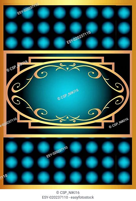 blue with gold label with pattern