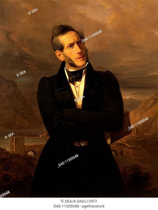 Portrait of Alessandro Manzoni (Milan, 1785 - Milan, 1873), Italian writer, poet and playwright. Oil on canvas, by Giuseppe Molteni (1800-1867), 1835, 100x76 cm