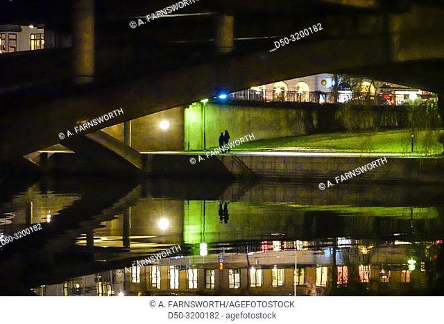 Nightview under the Kungsbro on Klara Sjo,. Stockholm, Sweden