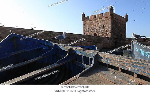 Blue fishing boats, Essaouira Morocco, North Africa, Africa