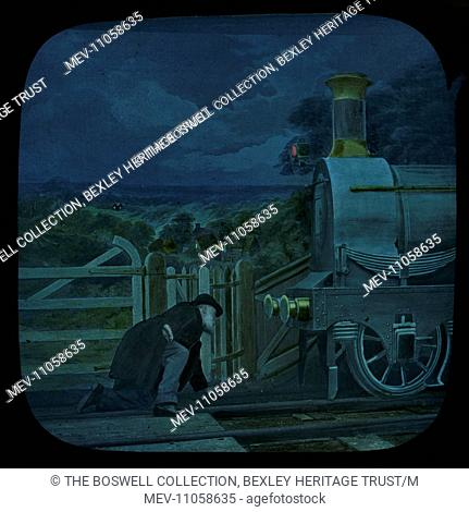 Level Crossing - 7 - Night-time - Man in front of locomotive. Part of Box 52 Boswell collection. Nursery Rhymes