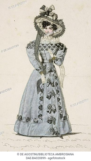 Women wearing a grey walking dress with decorative half moon and bow inserts and a hat adorned with lace and flowers, plate 20, French Fashions