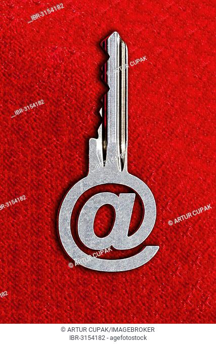@ sign key against a red background