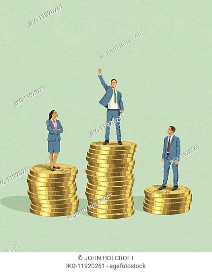 Businessman standing on top of more money than colleagues